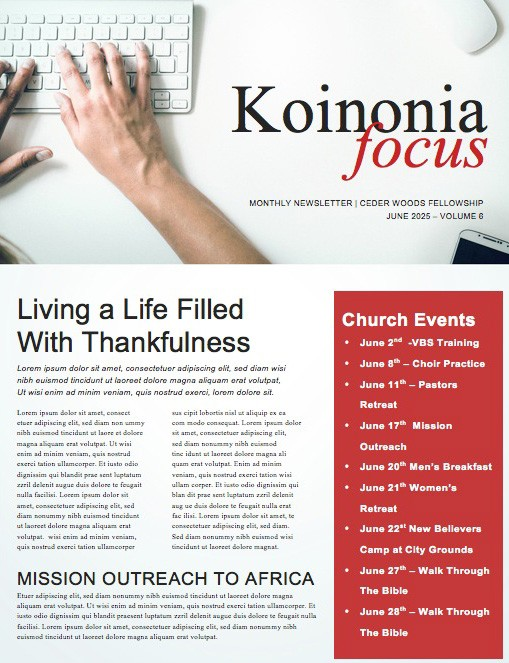 Your Work Matters Church Newsletter Template