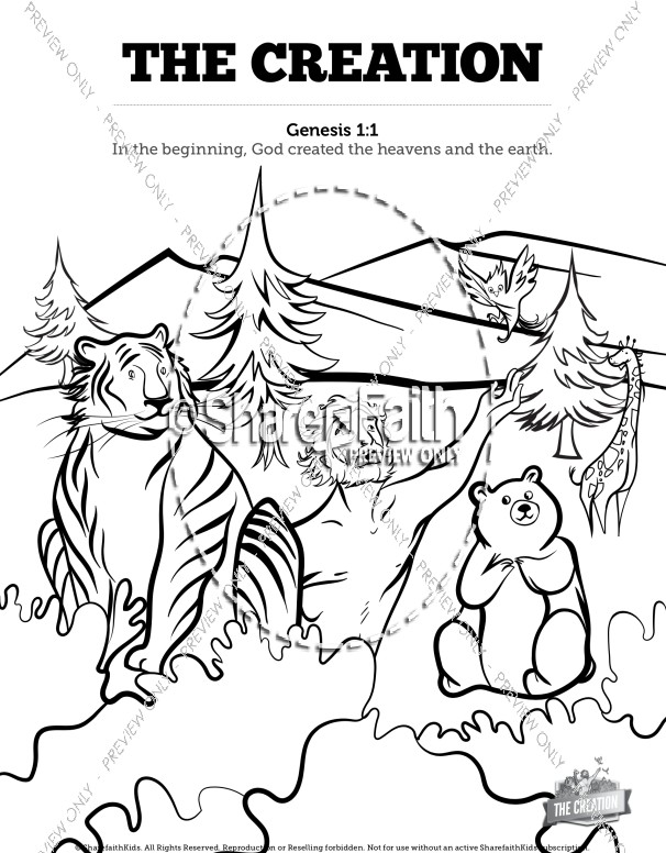 The Creation Story Sunday School Coloring Pages