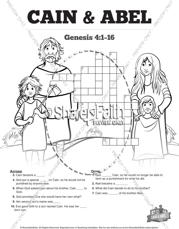 Cain and Abel Sunday School Crossword Puzzles