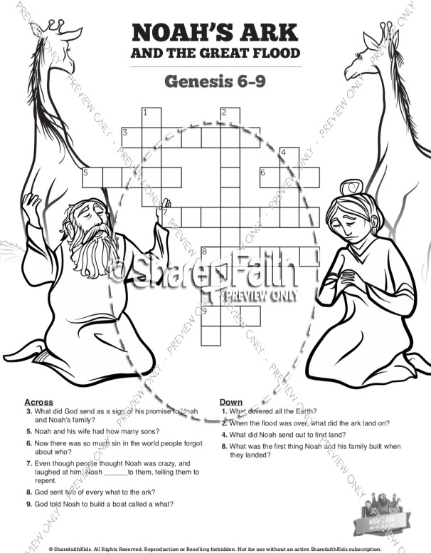 Noah's Ark Sunday School Crossword Puzzles