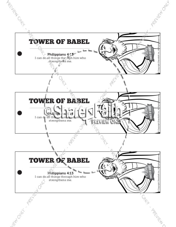 Tower of Babel Bible Story For Kids Bookmarks