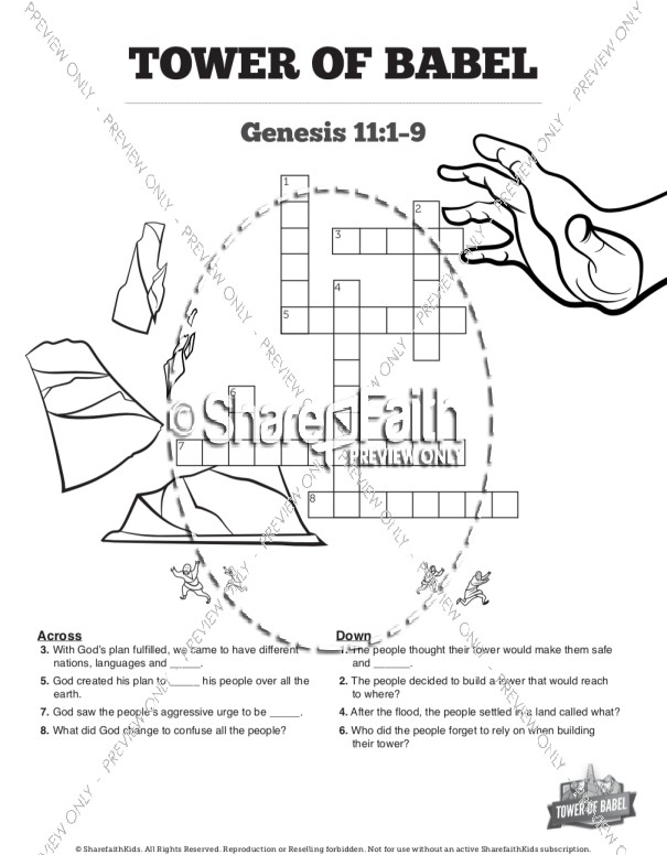 Tower of Babel Bible Story For Kids Sunday School Crossword Puzzles
