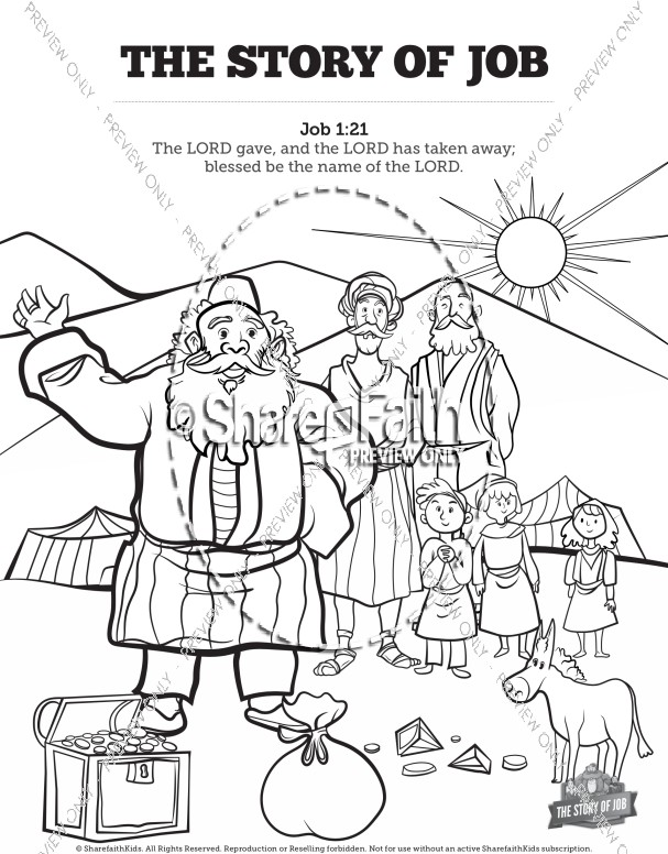 Coloring Pages For Job In The Bible : The story of job coloring sunday school activities