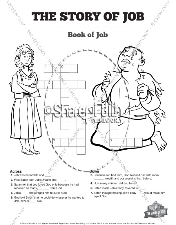 The Story of Job Printable Crossword Puzzles