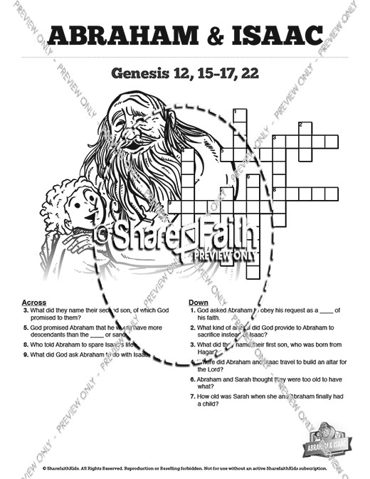 The Story Of Abraham and Isaac Sunday School Printable Crossword Puzzles