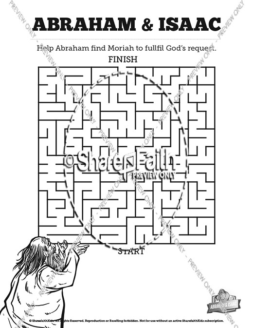 The Story Of Abraham and Isaac Bible Mazes