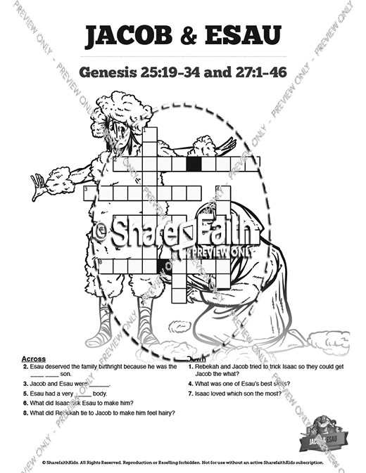 picture regarding Bible Crossword Puzzles Printable With Answers known as Tale Of Jacob and Esau Printable Crossword Puzzles Sunday