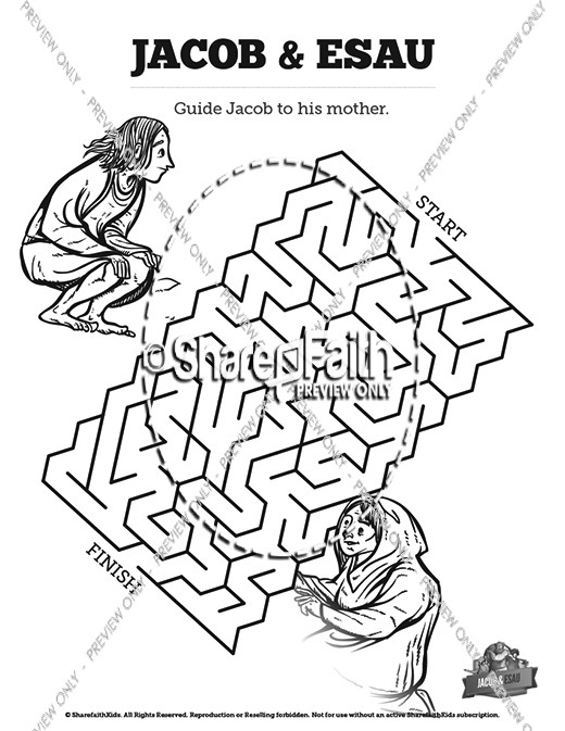 Story Of Jacob and Esau Bible Mazes