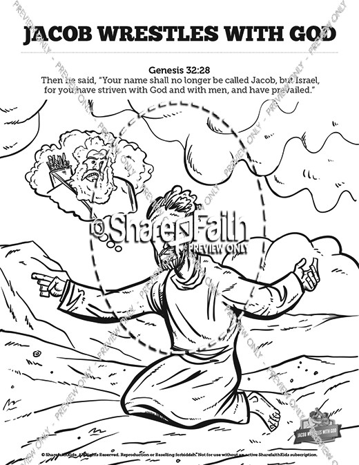 The Story Of Jacob Wrestling With God Sunday School Coloring Pages