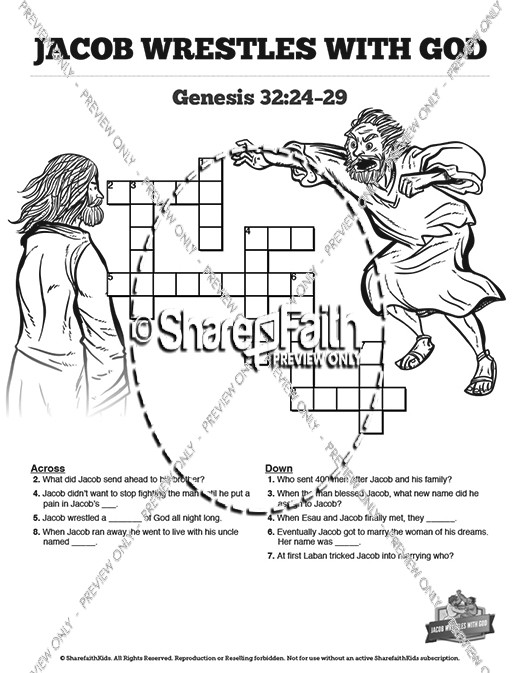 The Story Of Jacob Wrestling With God Sunday School Crossword Puzzles