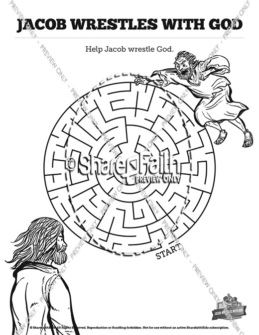 Jacob Wrestles With God Bible Story Mazes