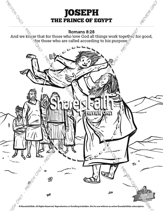 The Story Of Joseph the Prince of Egypt Sunday School Coloring Pages