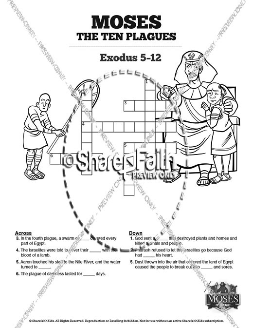 The Ten Plagues Sunday School Printable Crossword Puzzles