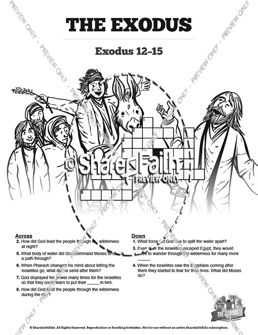 The Exodus Story Sunday School Crossword Puzzles