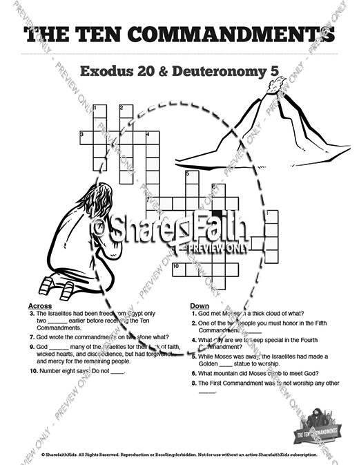 photo about Ten Commandments Printable Activities named The 10 Commandments Sunday College or university Crossword Puzzles
