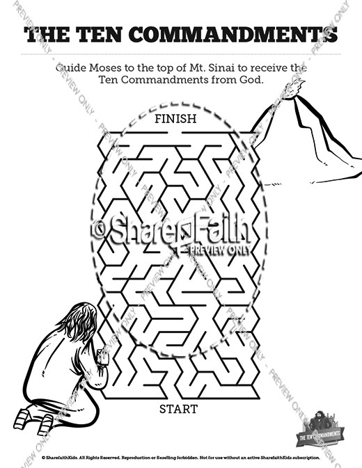 The Ten Commandments Bible Mazes