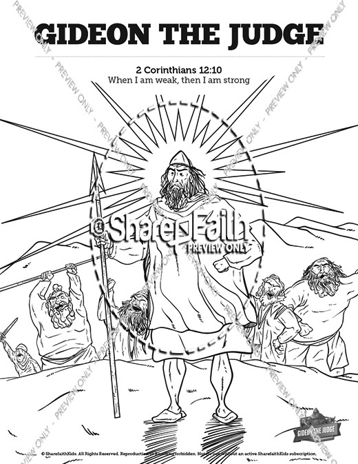 Judges 6 Gideon Sunday School Coloring Pages
