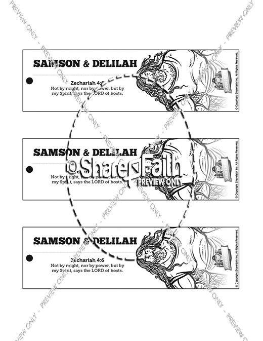 Samson and Delilah Bible Bookmarks