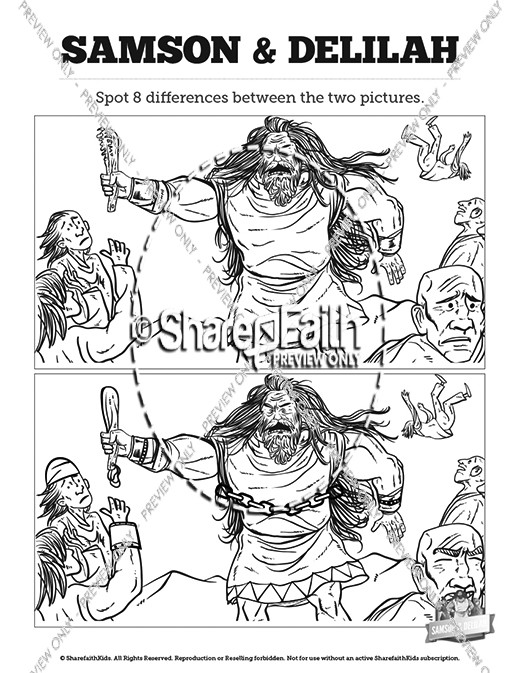 samson and delilah kids spot the difference - Samson Delilah Coloring Pages