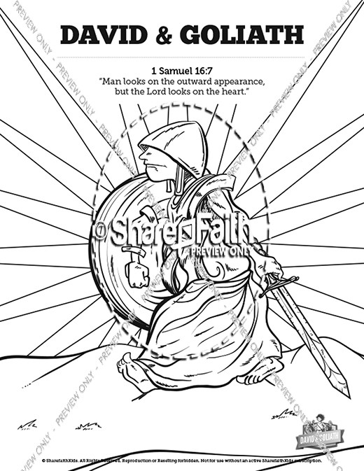David and Goliath Sunday School Coloring Pages