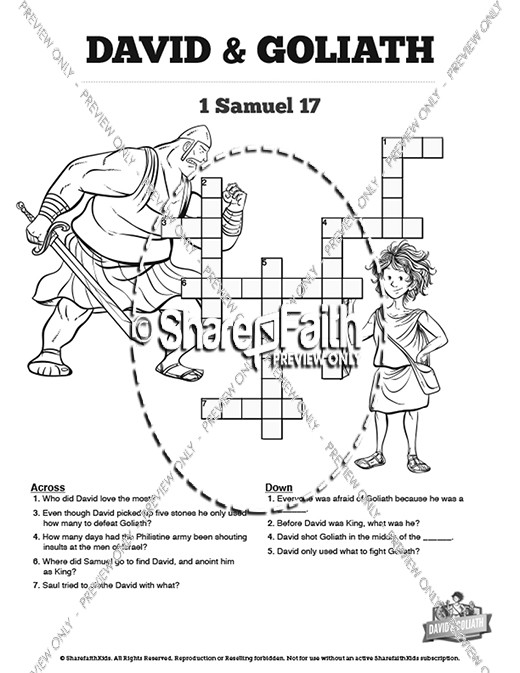 David and Goliath Sunday School Crossword Puzzles