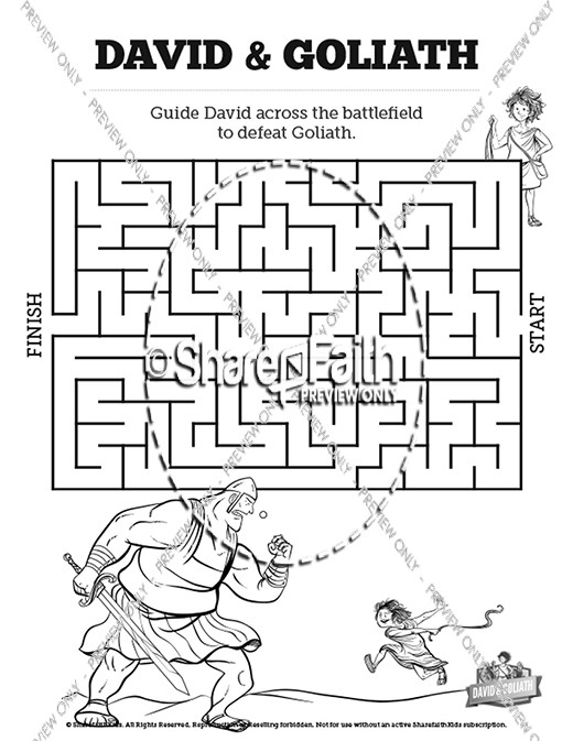 picture about David and Goliath Printable Story named David and Goliath Bible Mazes Bible Mazes