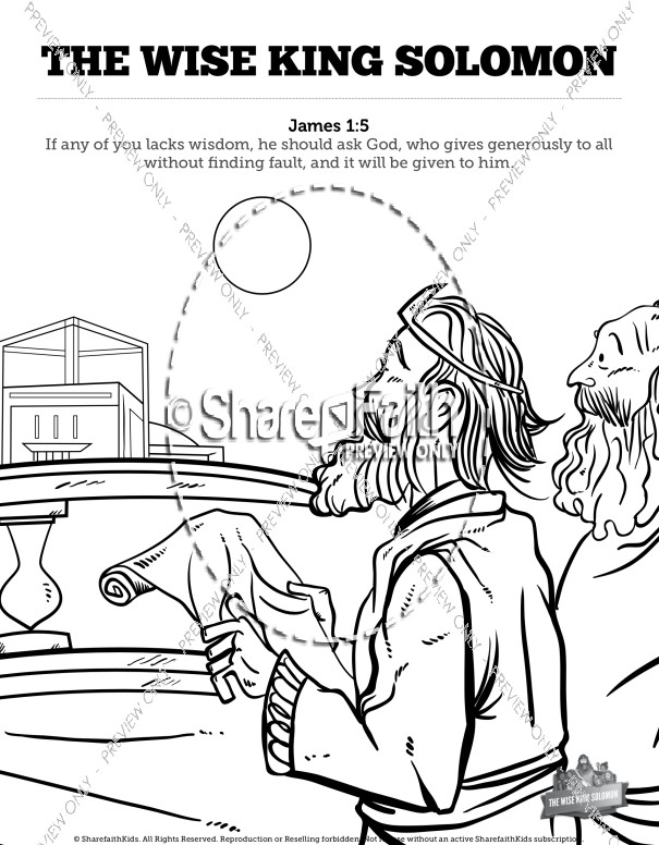 The Wisdom Of Solomon Sunday School Coloring Pages