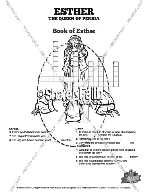 Queen Esther Sunday School Crossword Puzzles