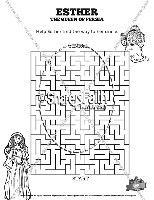 Queen Esther Bible Mazes