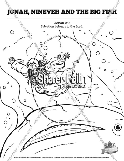 Jonah And The Whale Sunday School Coloring Pages Sunday