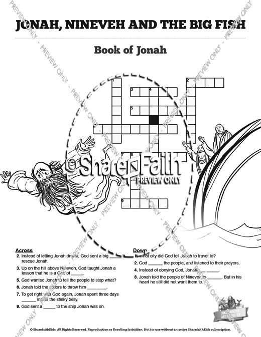 Jonah And The Whale Sunday School Crossword Puzzles