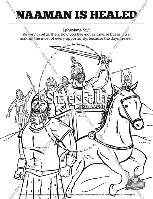 Naaman The Leper 2 Kings 5 Sunday School Coloring Pages