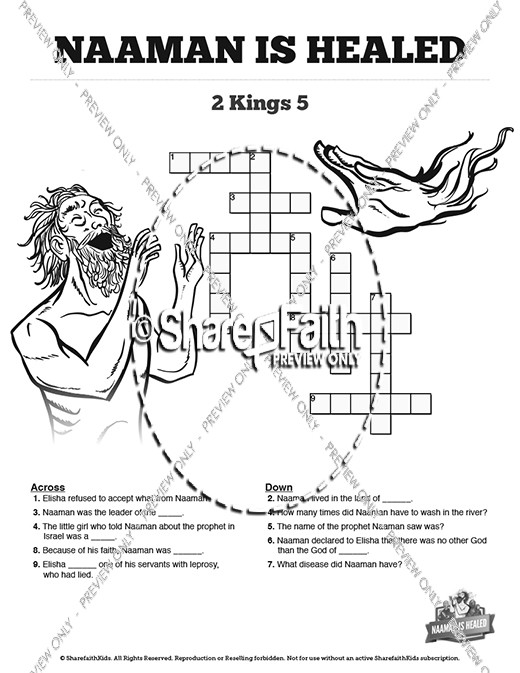 Naaman The Leper 2 Kings 5 Sunday School Crossword Puzzles