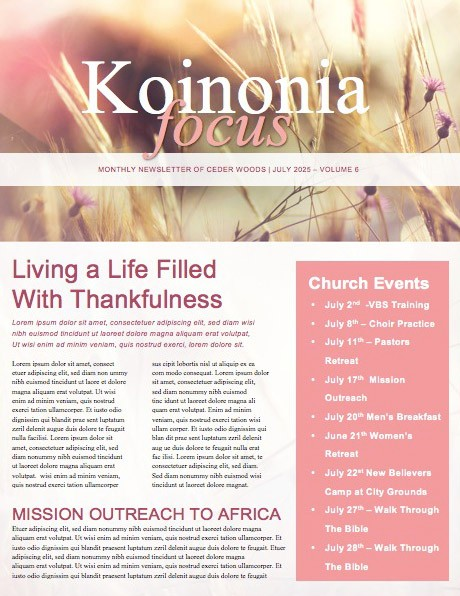 Butterfly Church Newsletter Template – Church Newsletter