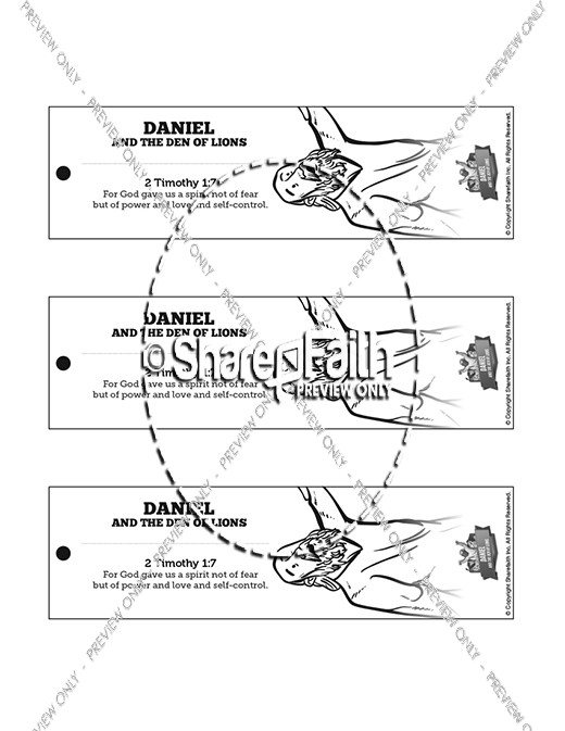 Daniel And The Lions Den Bible Bookmarks