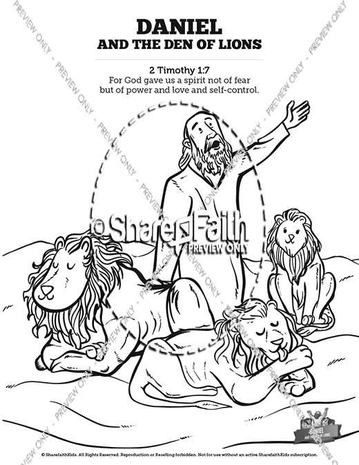 coloring page of daniel in the lion s den - daniel and the lions den kids bible story kids bible stories