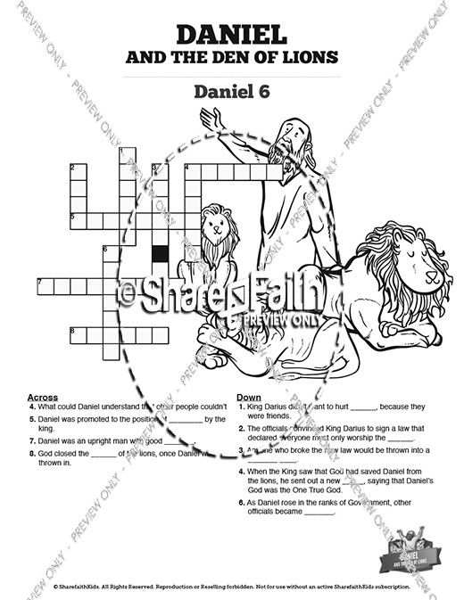Daniel And The Lions Den Sunday School Crossword Puzzles