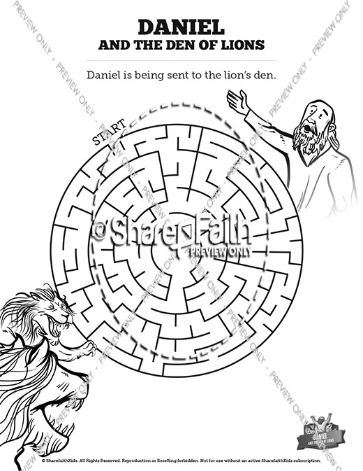 Daniel And The Lions Den Bible Mazes