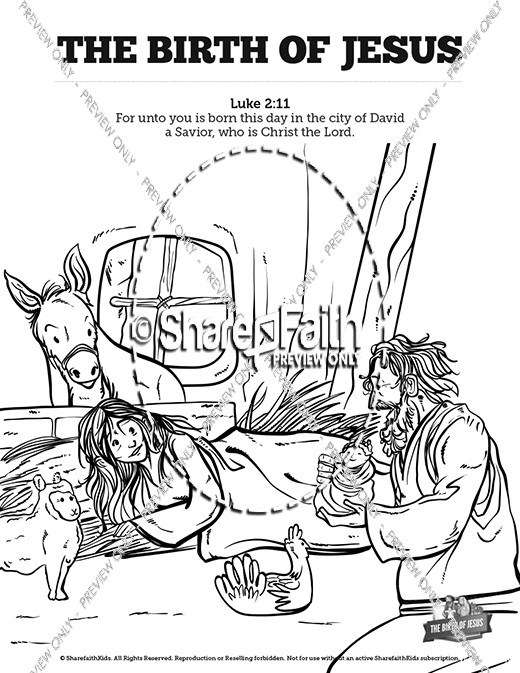 The Birth of Jesus Sunday School Coloring Pages | Sunday School ...