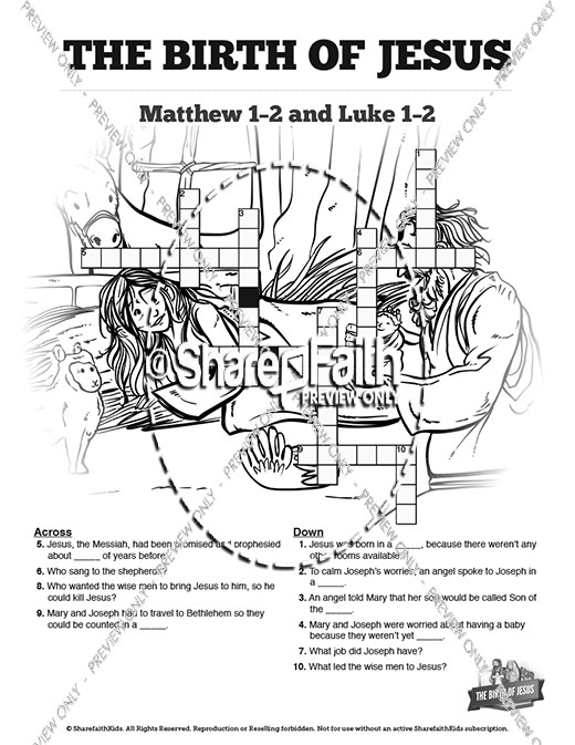The Birth of Jesus Sunday School Crossword Puzzles