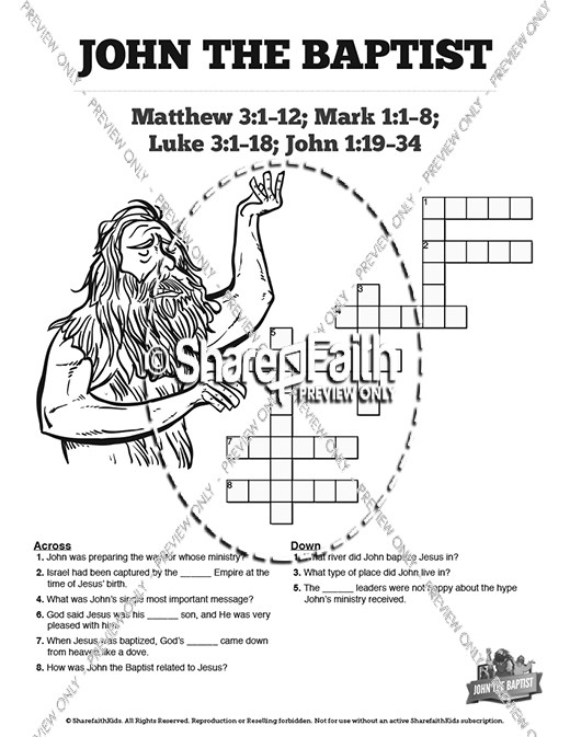 John The Baptist Sunday School Crossword Puzzles
