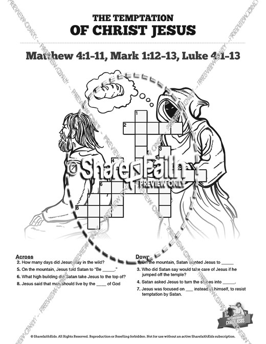 Matthew 4 Jesus Tempted Sunday School Crossword Puzzles