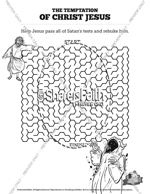 Matthew 4 Jesus Tempted Bible Mazes