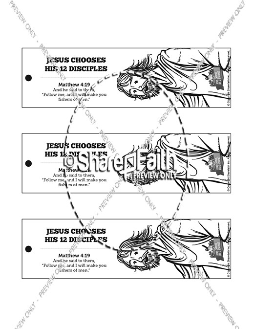 Jesus Chooses His 12 Disciples Bible Bookmarks
