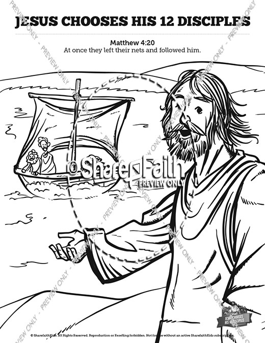 Jesus chooses his 12 disciples kids bible story kids for 12 disciples coloring page