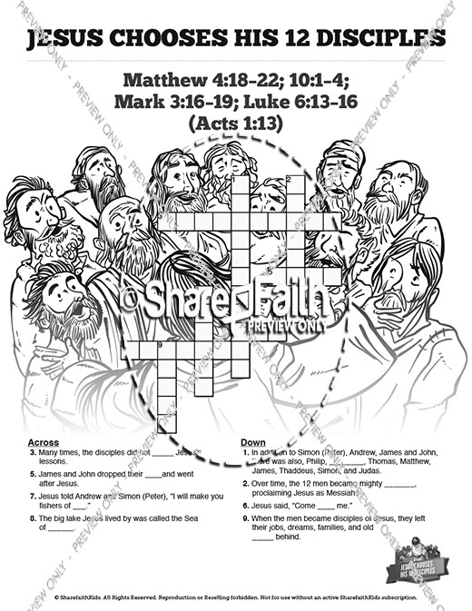 Jesus Chooses His 12 Disciples Sunday School Crossword Puzzles