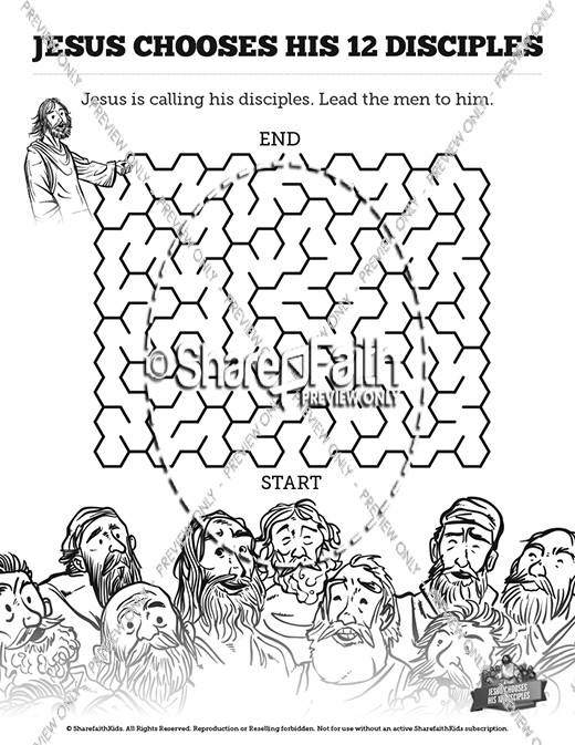 Jesus Chooses His 12 Disciples Bible Mazes