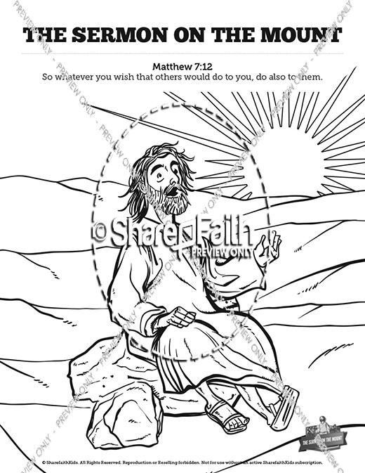 Sermon On the Mount (Beatitudes) Sunday School Coloring Pages