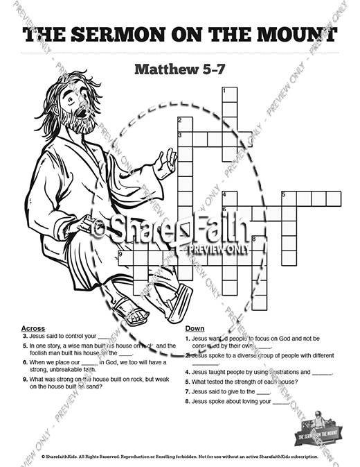 Sermon On the Mount (Beatitudes) Sunday School Crossword Puzzles