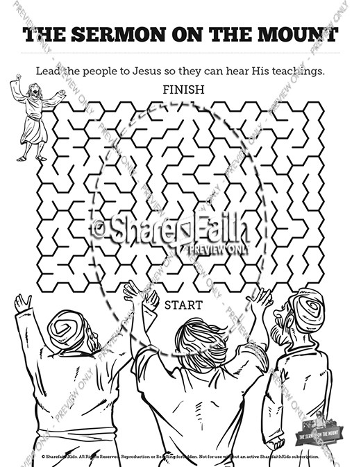 Sermon On the Mount (Beatitudes) Bible Mazes